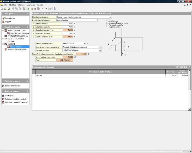 Euclide acustica edifici software per la verifica della for Software di progettazione di edifici domestici