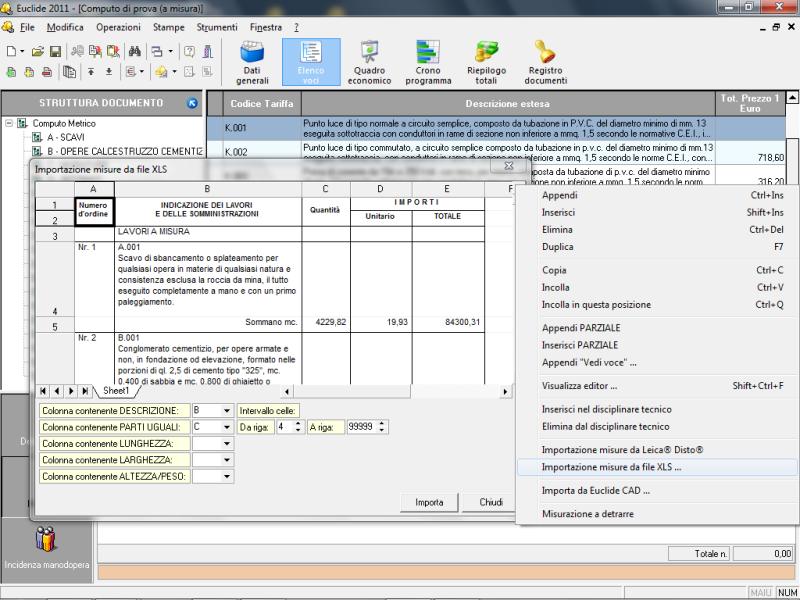 Importazione misure da file XLS
