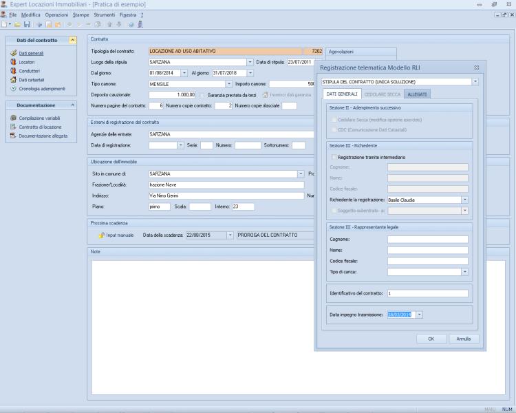 Expert locazioni immobiliari software per la gestione di for Registrazione contratto affitto cedolare secca